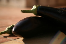 Aubergines from the Loro Piceno market