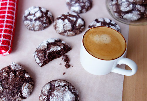 Chocolate Olive Oil Crema Cookies perfectly goes with espresso or a glass of milk for dunking.