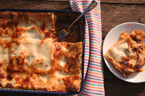 A traditinal beef and lamb Marchigiani lasagne.
